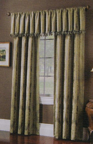 One Rod Pocket Drapery Panel - Jacquard Striped Sage Curtain -Lined 52