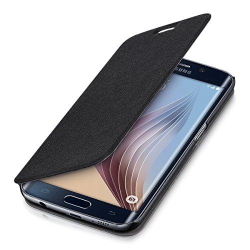 kwmobile フリップカバー保護カバーケース Samsung Galaxy S6 Edge用 黒色 - 携帯電話の実用的でシックな保護