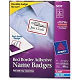 Avery Self-Adhesive Name Badge Labels, 2.333 x 3.375 Inches, Red Border, Box of 400 (5095)