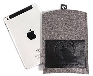 Wolfsrudel iPad mini Hülle / Tasche Grau-Meliert (100% Natur-Wollfilz kombiniert mit florentinischem Rindsleder) - HANDMADE IN GERMANY!
