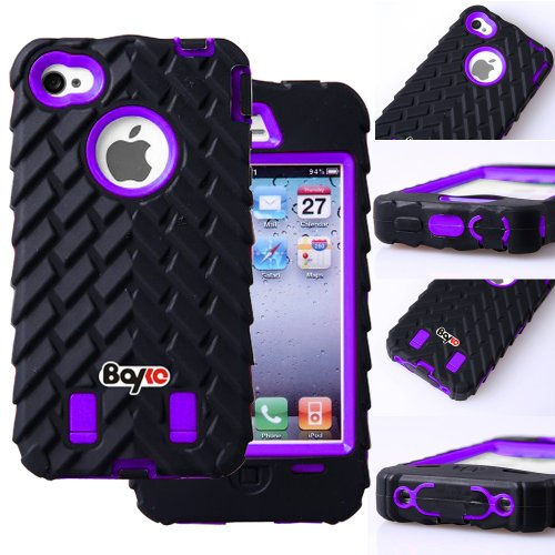 Bayke Brand / Apple Iphone 4 4S Two Layer Armor Skidproof Case 3In1 Hybrid High Impact Rubber Soles Armored Vehicle Tread Tires Combo Soft Silicone Case With Inner Hard Shell (Purple)