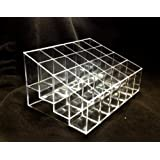 "1 X MERSUII 5.8"" x 3.8"" x 2"" Transparent Clear Acrylic Trapezoid 24 Lattices Lipsticks Cosmetic Lotion Makeup Organizer Storage Display Holder Stand"