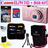Canon PowerShot ELPH 110 HS 16.1 MP CMOS Digital Camera with 5x Optical Image Stabilized Zoom 24mm Wide-Angle Lens and 1080p Full HD Video Recording (Pink) + 8GB Accessory Kit