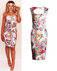 Womens Ladies Celebrity Kim Kardashian Floral Print Bodycon Midi Dress UK 8-14