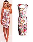 Womens Ladies Celebrity Kim Kardashian Floral Print Bodycon Midi Dress UK 8-14 (12)