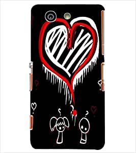 Fuson Orange White Heart Pattern Back Case Cover for SONY XPERIA Z3 COMPACT - D3789