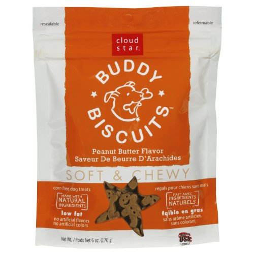 Cloud Star Soft & Chewy Buddy Biscuits Dog Treats, Peanut Butter Madness, 6-Ounce Pouches (Pack of 4)