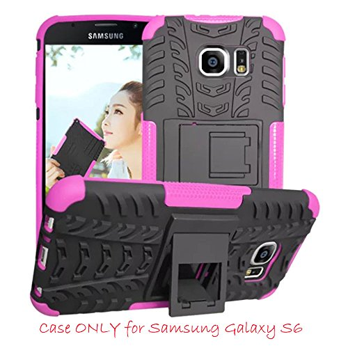 Samsung Galaxy S6 Case, Hongqing Shop **New** Unique 2 in 1 Protection Cover Case for Samsung Galaxy SVI 2015 Release, Dual Layer Drop Protection Design, Black PC Hard Armor Shell Cover Combine [Muiti-Color Option] Soft TPU Gel Middle Bumper, Premium Slim Fit Impact Resistant Armor Rugged Hard Galaxy S 6 (2015 Release) Case, Heavy Duty Tough Rugged Dual Layer Case with Built-in Kickstand, Tire Series Armor Defender Protective Tough Dual Layer Protection Case for Samsung Galaxy SVI G9200 (2015 Release) [NOT for Samsung Galaxy S6 EDGE], Carrier Compatibility AT&T, Verizon, T-Mobile, Sprint, And All International Carriers (Hot Pink) (One Direction Samsung Tab 3 Case compare prices)