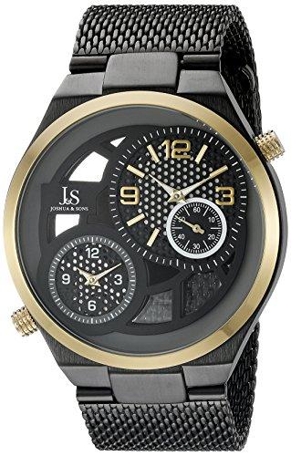 Joshua & Sons Negro, Gris y See Thru redonda de los hombres reloj de pulsera de dos Tono de la mano de cuarzo oro y negro