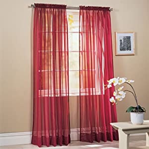 2 piece solid burgundy sheer window curtains drape panels treatment 60 w x 84 l - Amazon curtains living room ...