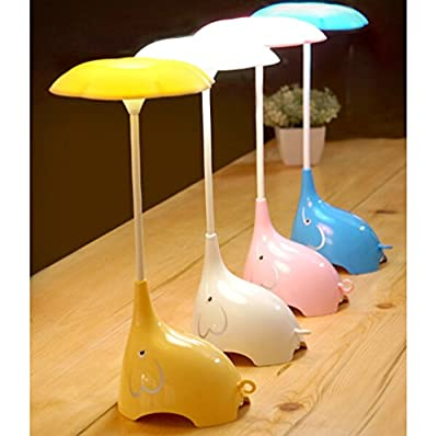 WOMHOPE® Cute Elephant Children's Night Lights Flexible Angles Desk Lamp - Design Button Touch Sensor Control 3-Level - Rechargeable - for Kids,Baby,Children