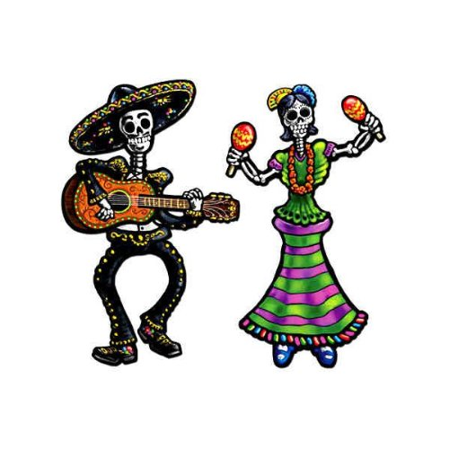 """Beistle Home Decorative Party Accessories Jointed Day Of The Dead Skeletons 14"""" - 1"""