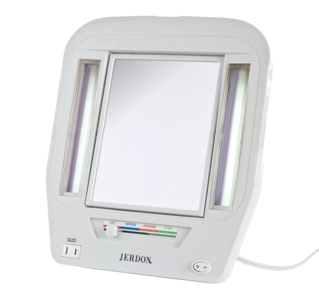 jerdon jgl7w euro lighted mirror with 5x magnification 4 light. Black Bedroom Furniture Sets. Home Design Ideas