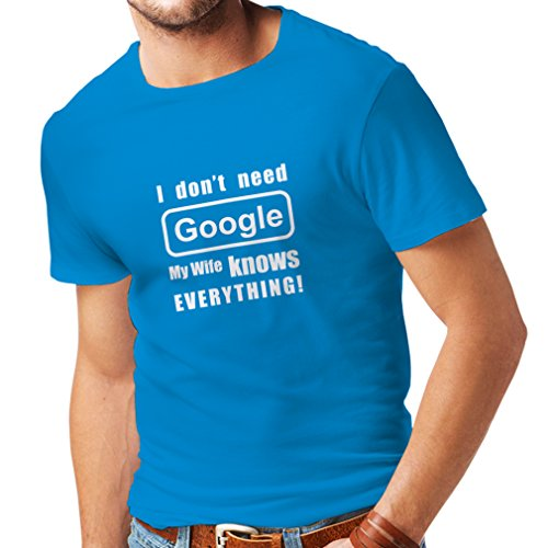 N4050 T-shirt da uomo I don't need Google, my wife knows everything (Medium Azzulo Bianco)