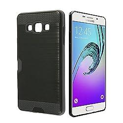 Samsung Galaxy A7 (2015 version) Back Case Cover [Bracevor] - Shock proof, Sleek Fit, Dual Layer, Card Slot, Shimmer surface (Jet Black)