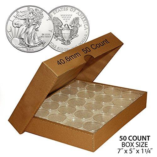 50-US-1oz-SILVER-EAGLE-Direct-Fit-Airtight-406mm-Coin-Capsule-QTY-50-w-BOX