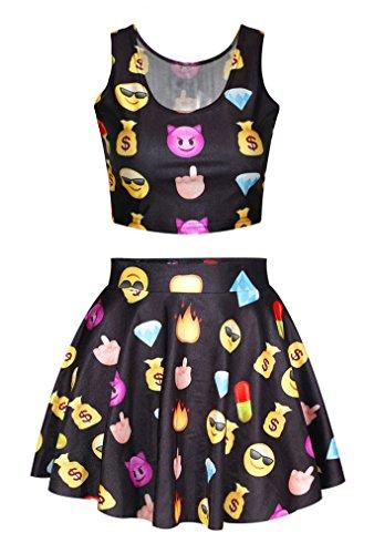 Girl's Cute Emoji Face Printed Black Crop Tank Top Tee Mini Skater Skirts Set (Emoji Tank Top compare prices)