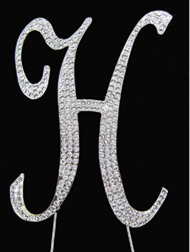Letter H Silver Rhinestone Crystal Cake Topper Silver, Gold Numbers, Letters, Bling Love, Wedding, Birthday, Anniversary ,Sparkles, Shine, Party Decorations Supplies