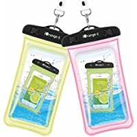 2-Pack iOrange-E Clear Universal Waterproof Cellphone Case (Pink & Yellow)