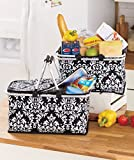 Keep Your Drinks and Snacks Cool or Warm with a Beautiful Stylish Damask Large Insulated Collapsible Zip Closure Basket with Handles for Shopping or Picnic ; a Set of 2