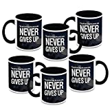 HomeSoGood Just Never Ever Give Up Quote White Ceramic Coffee Mug - 325 Ml (Set Of 6)