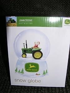 John Deere Santa Claus Driving a Tractor Snow Globe Water Globe - Christmas Holiday Collectible