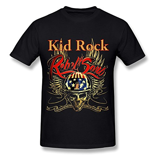 YX Kid Rock Rebel Soul T Shirt For Men Black L (Rock For Kids compare prices)
