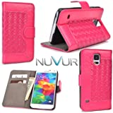 Samsung Galaxy S5 Cover Case Flip Stand W/Card Slots ( Hot Pink ) + Nu Vur