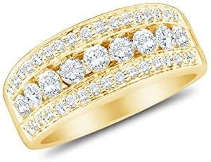 Size 8 - 14K Yellow Gold Large Diamond Wedding , Anniversary OR Fashion Right Hand Ring Band - w/ Channel Set Round Diamonds - (8mm Band Width) - (1.00 cttw)