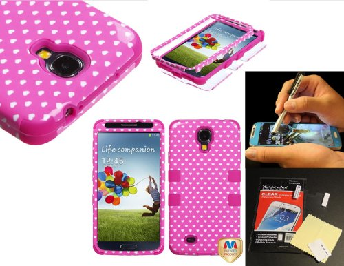For Samsung Galaxy S4 S 4 Iv Siv I9500 Hard Hybrid Armor Impact Rigged Snap On Case With Soft Silicone Gel Rubber Cover Tuff Case + (World Acc)Tm Brand Lcd Screen Protector + (World Acc)Tm Brand Silver Stylus Pen Free Gift (Pink Vintage Hearts / Electric