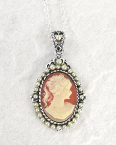 Sterling Silver Coral Cameo and Pearlized Beads Frame Pendant Necklace, 16-18