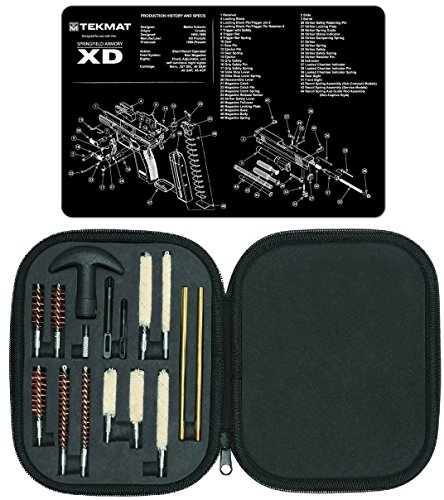 Ultimate Arms Gear Gunsmith & Armorer's Cleaning Work Bench Gun Mat Springfield Armory XD + Professional Tactical Cleaning Tube Chamber Barrel Care Supplies Kit Deluxe 17 pc Handgun Pistol Cleaning Kit in Compact Molded Field Carry Case for .22 / .357 / .38 / 9mm / .44 / .45 Caliber Brushes, Swab, Slotted Tips and Patches