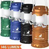 [4 Pack] LED Camping Lantern Flashlights – Hurricane Emergency Tent Light – Backpacking, Hiking, Fishing, & Outdoor Lighting Bug Out Bag Camping Equipment | Portable, Compact, & Water Resistant Gift