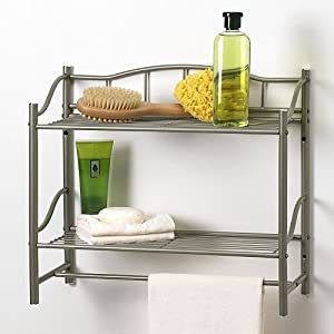 Bathroom Double Wall Shelf Organizer With Towel Bar Brushed Chrome Pearl Nickel Mounted