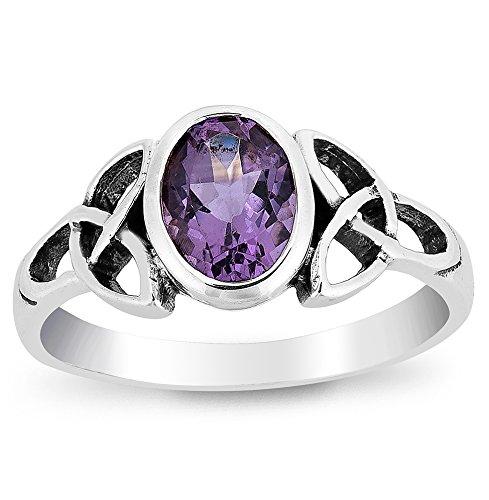 DTPsilver-Damen-Ring-925-Sterling-Silber-mit-Amethyst-Keltisch-Trinity-Knoten-Design