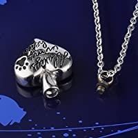 HOUSWEETY Stainless Steel Always In My Heart Pet Dog/Cat Paw Cremation Urn Necklace Ash Memorial Jewelry