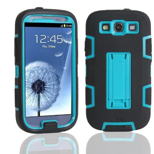 Magicsky Robot Series Hybrid Armored Case With Kickstand For Samsung Galaxy Iii S3 I9300 - 1 Pack - Retail Packaging - Blue/Black