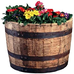 Real Wood Products Cedar Whiskey Barrel Planter – Walmart ... |Real Wood Product