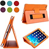 TKOOFN Premium Leather Smart Cover Nubuck Fibre Interior, Folio Case & Stand with Elastic Hand Strap for Apple iPad Mini 2 / Mini 3 [with Retina Display] + Screen Protector + Cleaning Cloth + Stylus, Orange - BHK6507