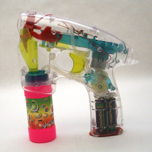 Clear Light up Bubble Gun - 1