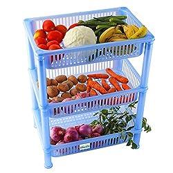 NOVICZ 3 Layer Kitchen Rack Stand Fruits Vegetable Rack Storage Household Office Rack Storage Stand - Blue