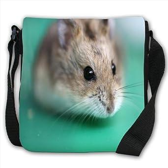 Hamster Small Black Canvas Shoulder Bag / Handbag