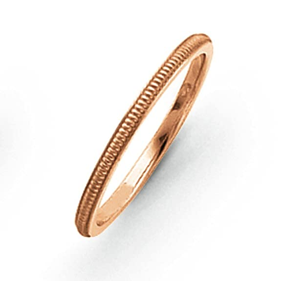 14ct Rose-Gold 1.5mm Milgrain Band Ring - Ring Size Options Range: H to P