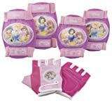 Disney Princess Pink Bike Bicycle Skating 6 piece Pad Set (Knee Pads, Elbow Pads & Gloves)