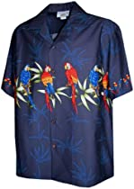 Tropical Parrot Hawaiian Shirts - Mens Hawaiian Shirts - Aloha Shirt - Hawaiian Clothing - 100% Cotton Navy Large