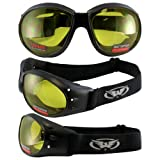 Red Baron Motorcycle / Aviator Goggles Black Padded Frame w/ Yellow Lens