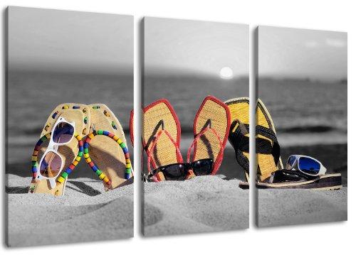 Infradito sulla spiaggia - Design nero / bianco con elementi di colore, 3 pezzi di tela (dimensione totale: 120x80 cm). Stampa artistica di elevata qualità come un murale. Più economico di un dipinto ad olio! No poster!