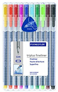 Staedtler Triplus Fineliner Pens 10 color Pack (334SB10)
