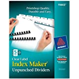 Avery Index Maker Unpunched Clear Label Dividers for Bound Documents, 5-Tab, White, 25 Sets (11443)