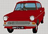 Ford Anglia Cross stitch Chart - red